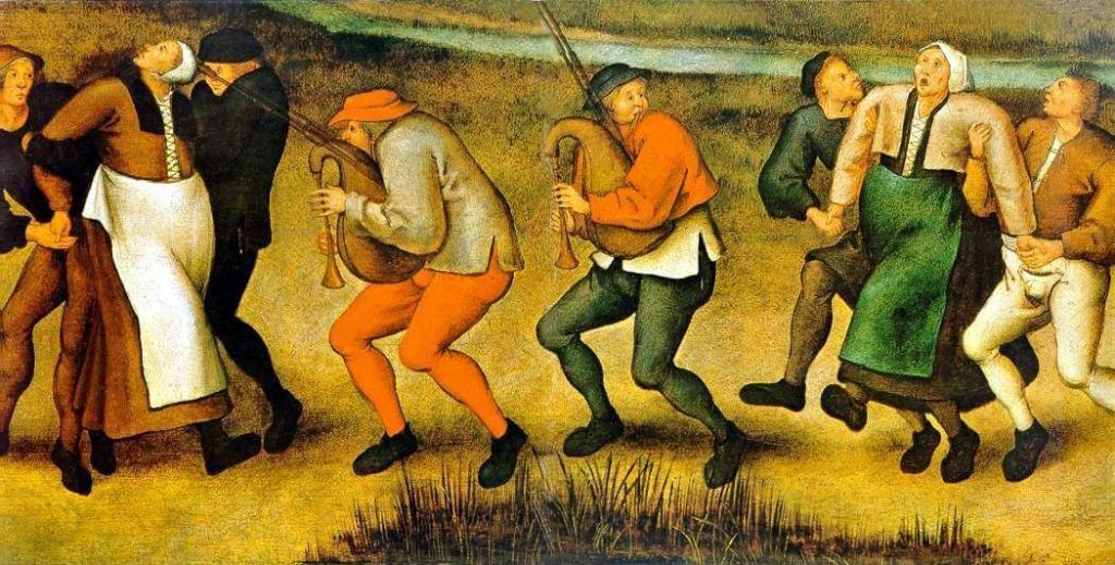 Dance mania victims, in a painting by Pieter Breughel