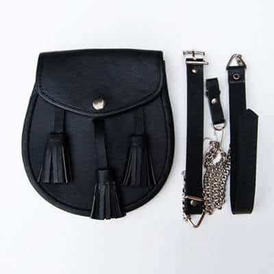 Black Leather Kilt Sporran with Tassels