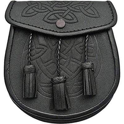Celtic Embossed Sporran with Latch Pin and Kilt Chain