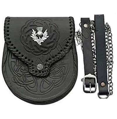 Double Embossed Scottish Black Leather Kilt Sporran with Belt