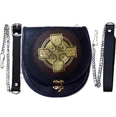 Leather Sporran Gold Cross Black Brown Leather Sporran for Kilts with Chain Belt