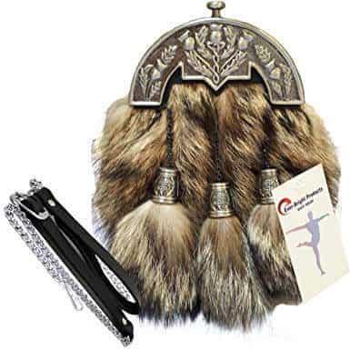 Scottish Kilt Original Fox Fur Full Dress Sporran Antique Chrome Thistle Cantel