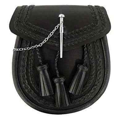 Tartanista Men's Black Scottish Kilt Sporran With Pin Lock & Tassels
