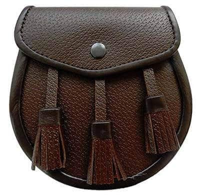 UT Kilts Scottish Kilt Brown Leather Sporran (Brown)